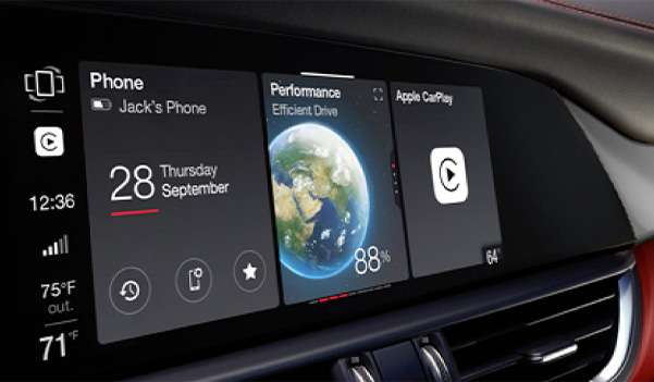 A close-up of the touchscreen in the 2020 Alfa Romeo Giulia with Apple icons displayed.