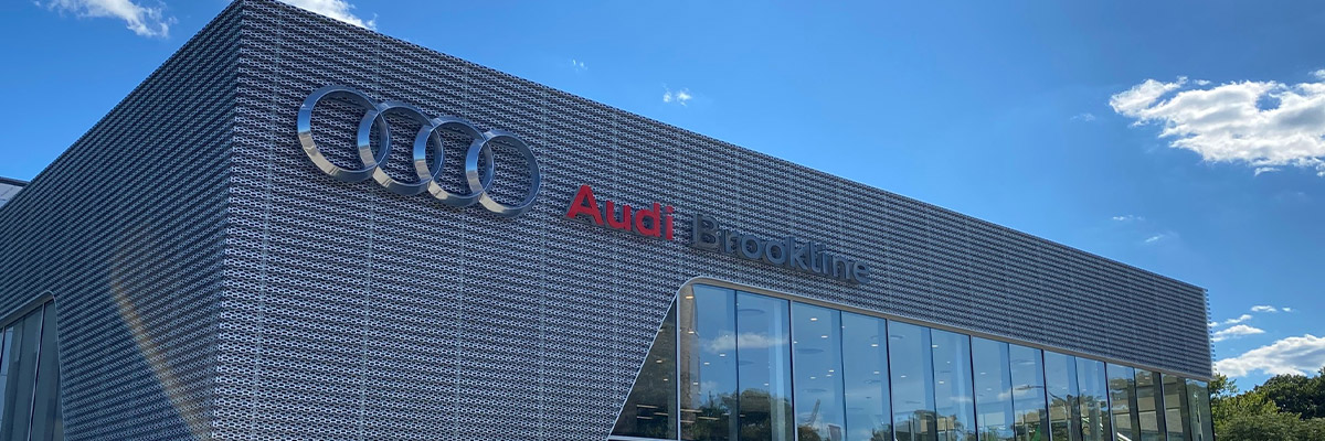 frontal exterior view of Audi Brookline dealership