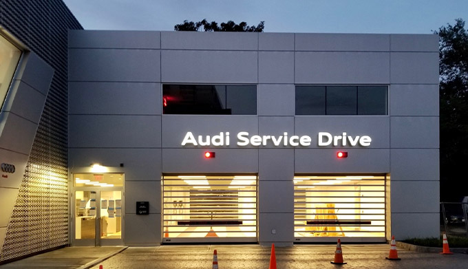 frontal view of Audi service drive at Audi Brookline dealership