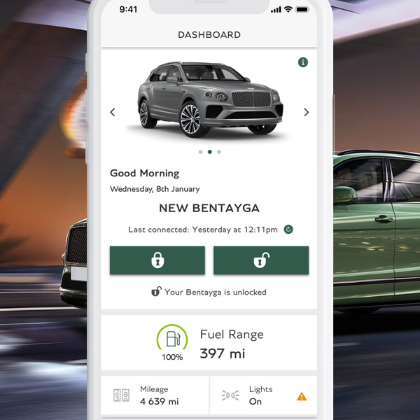 close up of smartphone showcasing the My bentley app