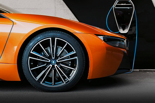 detail shot of 2020 BMW i8 tire
