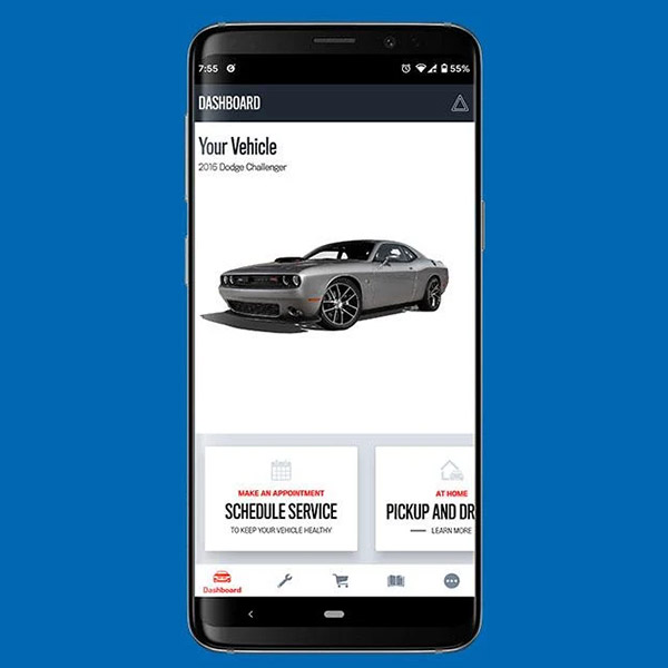 diagram showing a smartphone using the dodge mobile app featuring a dodge vehicle on the screen