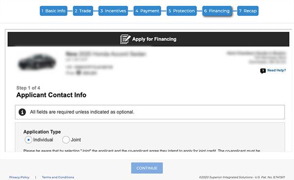 step 6 financing info filling form