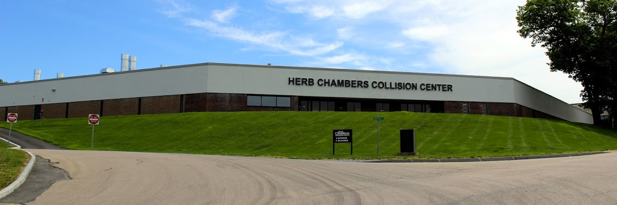 frontal view of herb chambers collision center in holliston ma