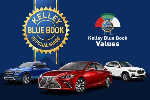multi brand vehicle line up with kelley blue book logo