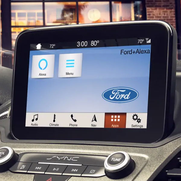 interior view of ford vehicle showcasing Alexa on digital screen sync app