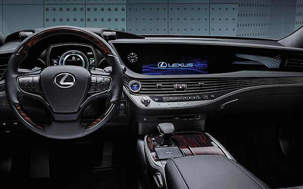 interior shot of Lexus LS sedan featuring dashboard and digital screen