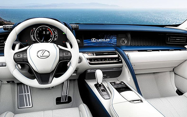 interior shot of Lexus LC sedan featuring dashboard and digital screen