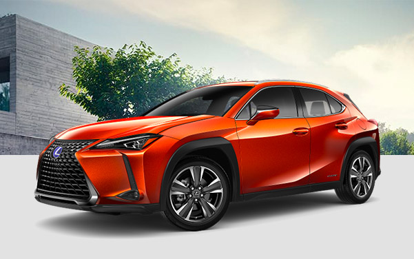 profile shot of blue Lexus UX crossover