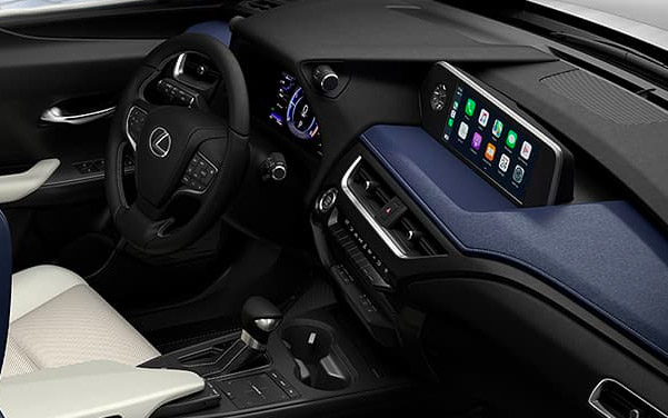 interior shot of Lexus UX crossover featuring dashboard and digital screen
