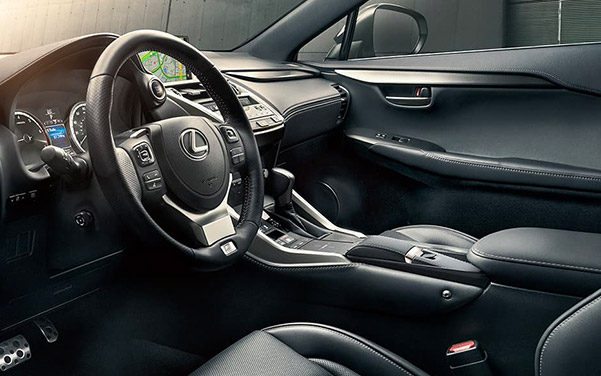 interior shot of Lexus NX suv featuring dashboard and digital screen
