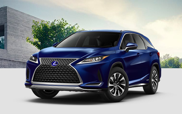 profile shot of blue Lexus RX suv