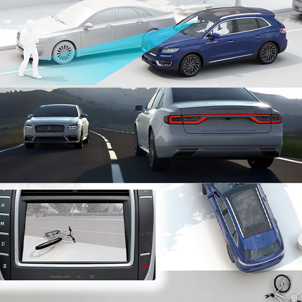 illustration showcasing rear view camera assist technonology. second illustration showcasing pre collision assist with automatic emergency braking