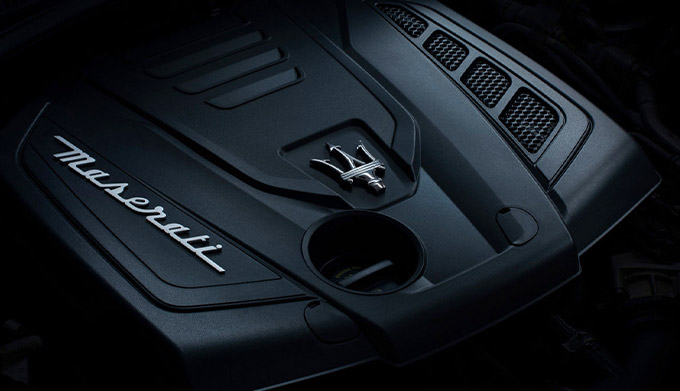 close up of maserati ghibli hybrid engine