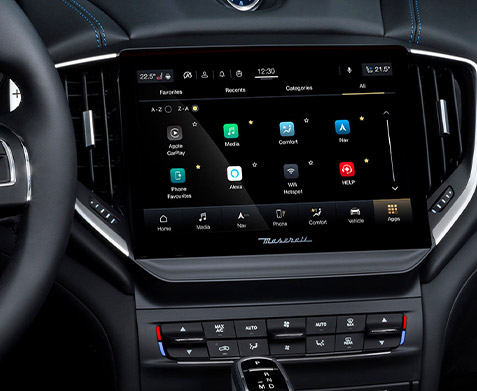 interior close up of maserati ghibly hybrid digital screen
