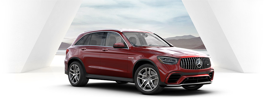 red Mercedes-AMG® GLC 63  suv on a white studio background