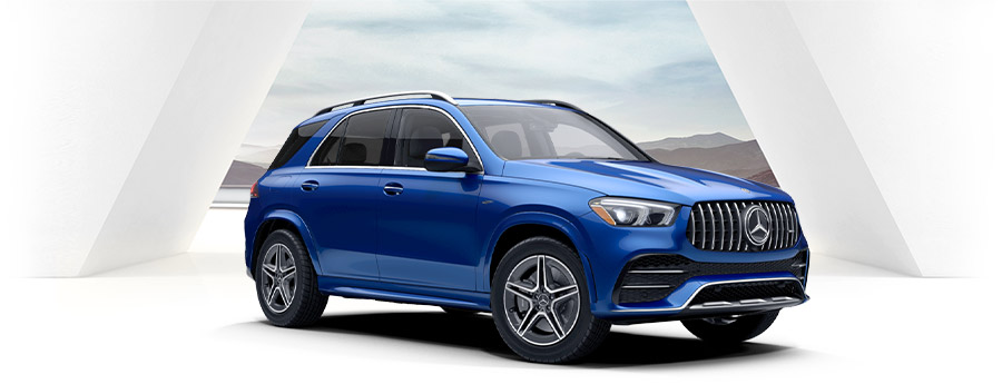 blue Mercedes-AMG® GLE 53 suv on a white studio background