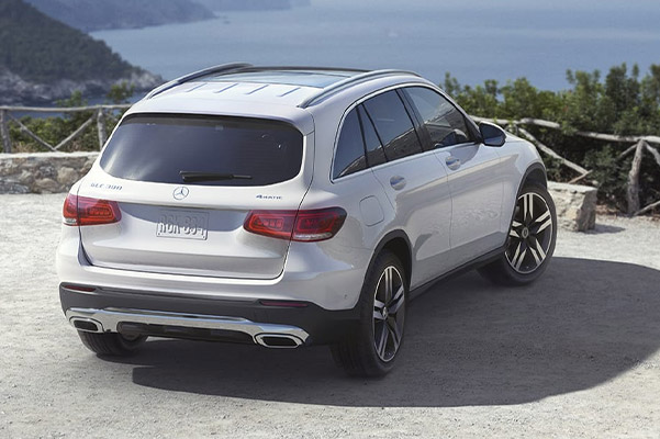 rear profile shot of Mercedes Benz GLC Hybrid parked on a lookout