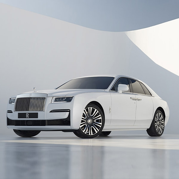 side exterior view of Rolls Royce Ghost in white color on a white background