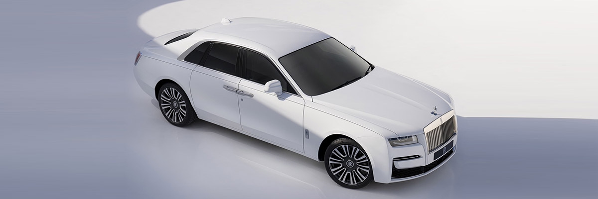 aerial view of Rolls Royce Ghost in white color