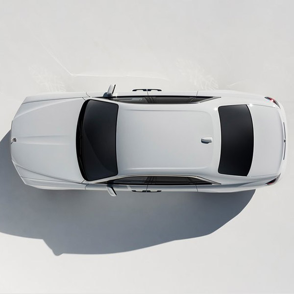 aerial view of white Rolls Royce Ghost